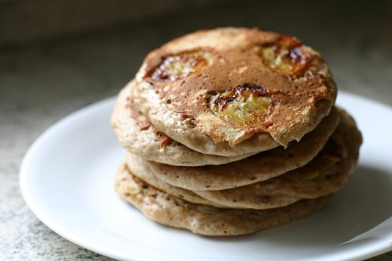 Whole Wheat Date Nut Pancakes with Bananas