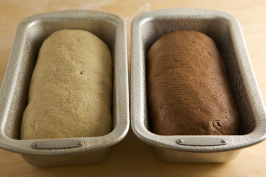 Marbled Rye Loaves in Pans