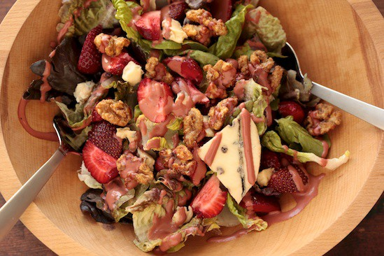 Green Salad with Strawberries, Blue Cheese and Glazed Walnuts
