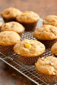 Nectarine Muffins on a Cooling Rack