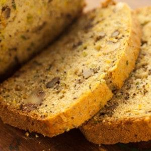 Lemon Zucchini Poppy Seed Bread Slices up close