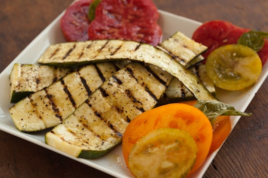Grilled Zucchini with Sliced Heirloom Tomatoes