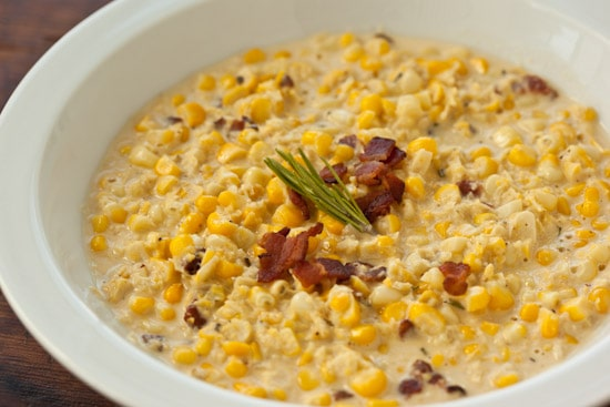 Homemade creamed corn recipe with bacon and rosemary made with fresh or frozen corn | pinchmysalt.com