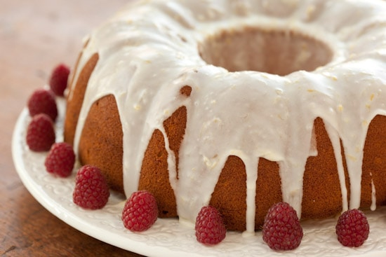 Lemon Buttermilk Pound Cake with Fresh Raspberries