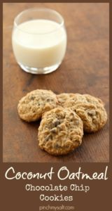 Coconut Oatmeal Chocolate Chip Cookies Pin | pinchmysalt.com