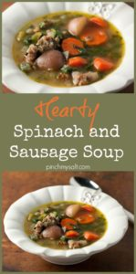Hearty Spinach and Sausage Soup | pinchmysalt.com