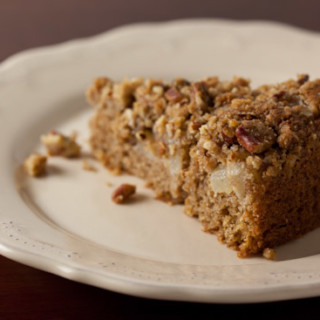 Sour Cream Pear Cake with Pecan Streusel Topping