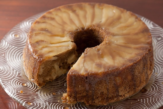 Caramel Apple Pear Cake Sliced