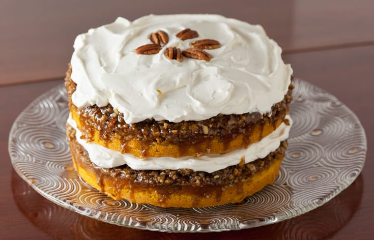 Pumpkin Praline Cake with Whipped Cream Frosting | pinchmysalt.com