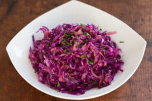 Warm Cabbage Slaw with Caraway Seeds