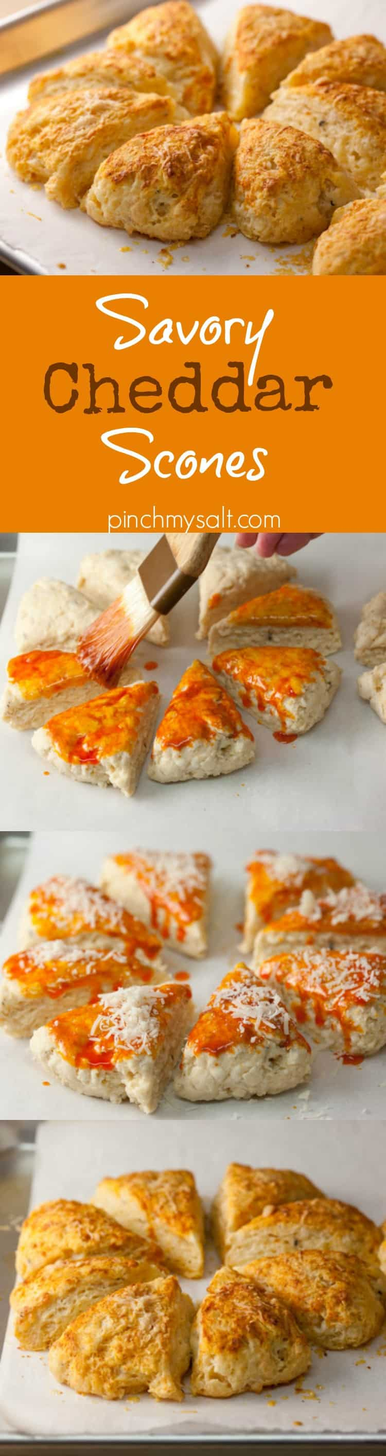 These savory cheddar scones made with buttermilk and brushed with smoked paprika butter are tender, flavorful, and easy to make. Perfect with soup or salad! | pinchmysalt.com