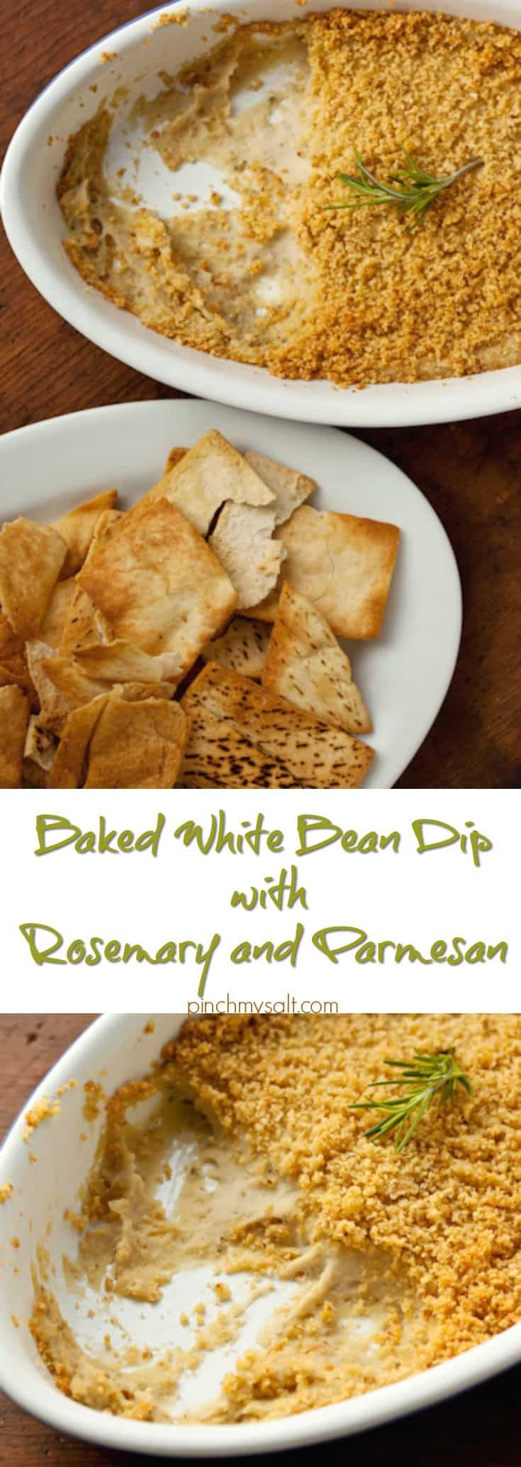 Baked White Bean Dip with Rosemary and Parmesan | pinchmysalt.com