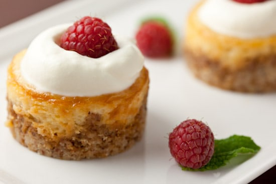 Mini Honey Almond Cheesecakes with Raspberries