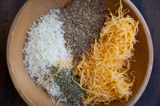 Parmesan, Cheddar, Flaxseed Meal, Herbs