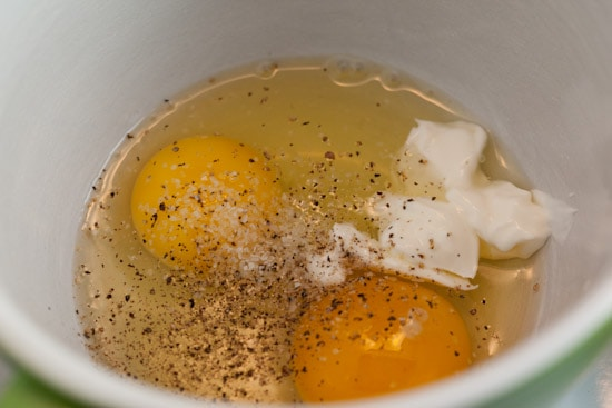 Eggs, sour cream, salt, and pepper