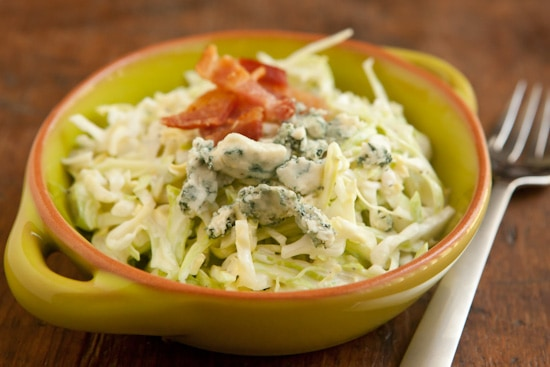 Creamy Coleslaw with Bacon and Blue Cheese