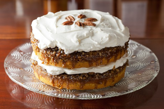 Pumpkin Praline Cake with Whipped Cream Cheese Frosting