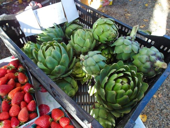 Artichokes and Strawberries at the Farmer's Market