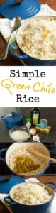 Green chile rice is a perfect side dish for taco tuesday and is perfect base for burrito bowls. | pinchmysalt.com