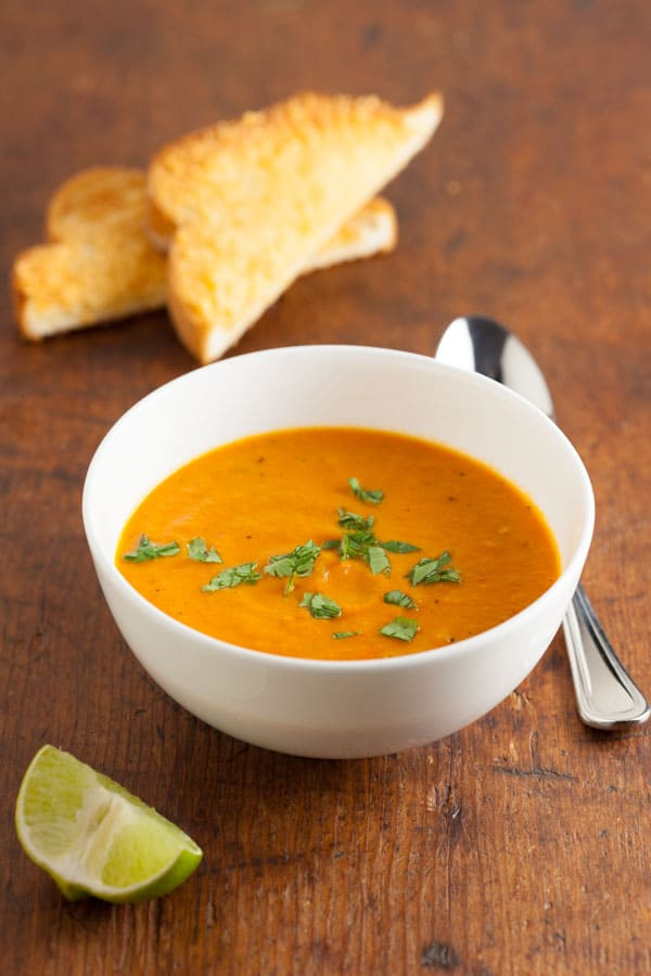 Creamy Carrot Tomato Soup with Chipotle | pinchmysalt.com