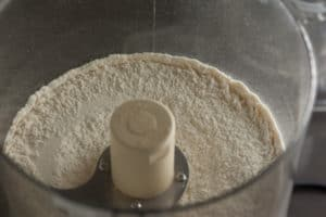 Flour, Salt, and Sugar in Cuisinart for Sourdough Pie Crust | pinchmysalt.com