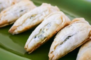 Spinach and Feta Turnovers on Plate