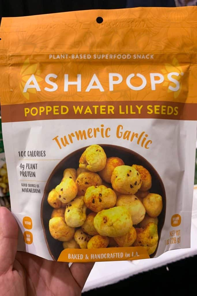 Bag of popped water lily seeds at California Food Expo